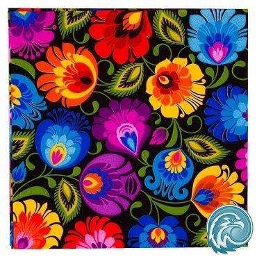 serviette papier fleurs noire